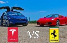Elektri- vs. sisepõlemismootor (Tesla Model X P90D Ludicrous vs. Ferrari F430)